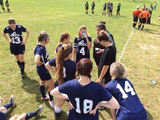 Women's Soccer Team huddle 9-14-19