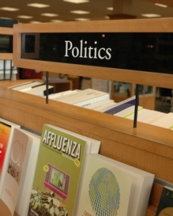 A picture of a bookshelf on Politics in the bookstore