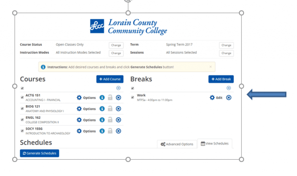 Screenshot showing breaks listed on the right side and courses (from the select courses section) listed on the left side.