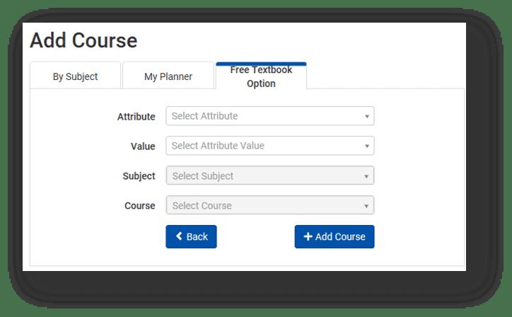 Free Textbook Option Screenshot