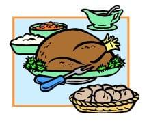 A cartoon Thanksgiving diner