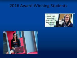 A picture of 2016 Outstanding Students Annie Paxton and Arshiya Anand