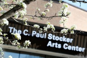 Stocker Arts Center Building Sign and Tree