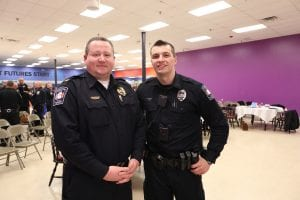 Avon police chief Richard Bosley and LCCC Academy grad Nick Rennette.