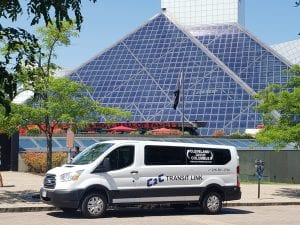 Van outside of the Cleveland Rock and Roll Hall of Fame
