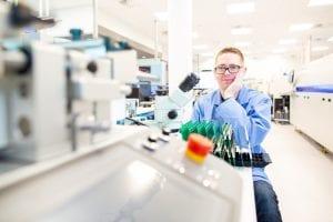 Chris Mariner in the MEMS lab