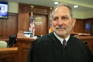 Judge Robert White in his courtroom