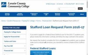 A picture of the page for the Stafford Loan Request