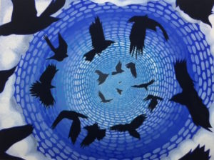 "A picture of the painting ""Crow Spiral"" painted by Nancy Halbrooks"