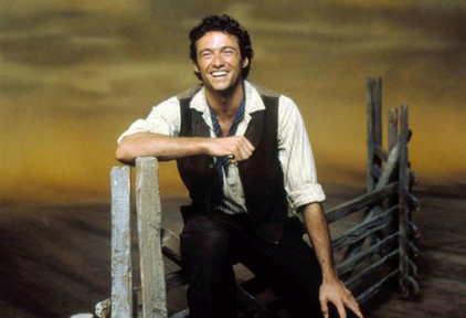 "A picture of Hugh Jackman playing as Curly in ""Oklahoma"""