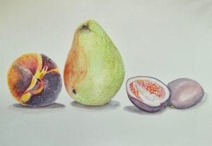 Painting of a Peach Pear and Passion Fruit by Laura Tawil