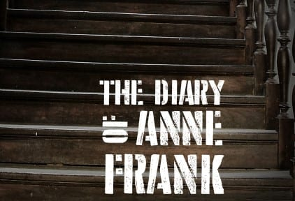 Diary of Anne Frank Text with a dark wooden staircase in the background.