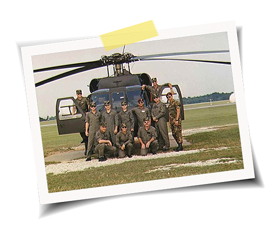 Wendy blount with helicopter crew