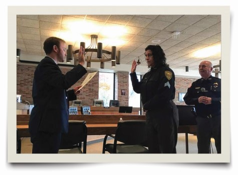 Detective Sergeant Tabitha Angello is sworn in, becoming the Lorain Police Department's first female sergeant.