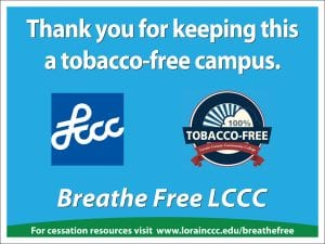 LCCC Tobacco Free Logo, Thank you for keeping a tobacco-free campus, Breathe Free LCCC